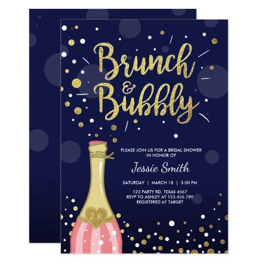 Brunch Bubbly Bridal shower invitation Navy Gold Zazzlecom
