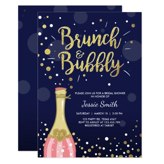 b344f0985c1e Brunch   Bubbly Bridal shower invitation Navy Gold