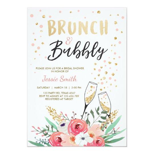 brunch bubbly bridal shower invitation pink gold zazzle com