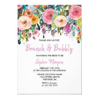 Brunch & Bubbly Bridal Shower Pink Floral Invite