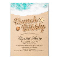 Brunch Bubbly Bridal Shower Summer Beach Starfish Invitation