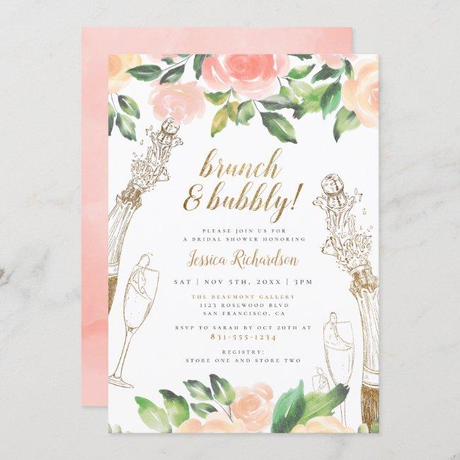 Brunch & Bubbly   Champagne Floral Bridal Shower Invitation