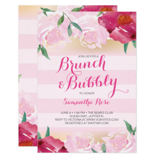 Brunch & Bubbly Flowers Bridal Shower Card