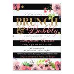 Brunch & Bubbly Glitter Black White Bridal Shower 5x7 Paper Invitation Card