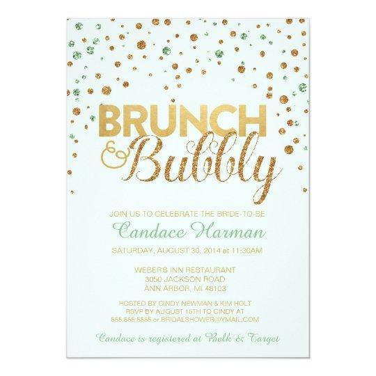 Brunch & Bubbly Glitter Bridal Shower Invitation | Zazzle