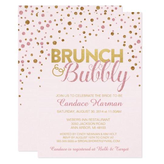 brunch bubbly glitter bridal shower invitation zazzle com