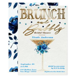 Brunch Bubbly Gold Teal Blue Floral Bridal Shower Card