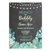 Brunch & Bubbly Succulents Bridal Shower Invite