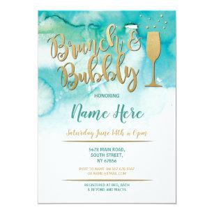 brunch bubbly teal gold bridal shower invite