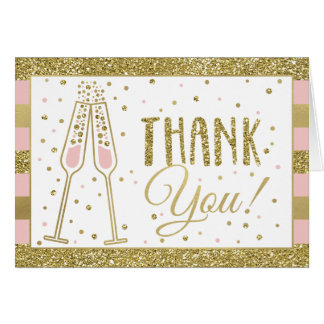 Brunch & Bubbly Thank You Card, Faux Glitter/Foil