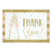 Brunch & Bubbly Thank You Card, Faux Glitter/Foil Card