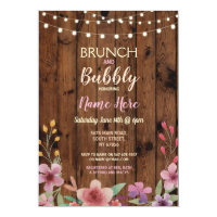 Brunch & Bubbly Vintage Flower Bridal Shower Wood Invitation