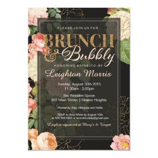 Brunch & Bubbly Vintage Glitter Floral Shower Card