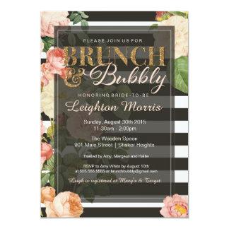 Brunch & Bubbly Vintage Stripe Bridal Shower Card