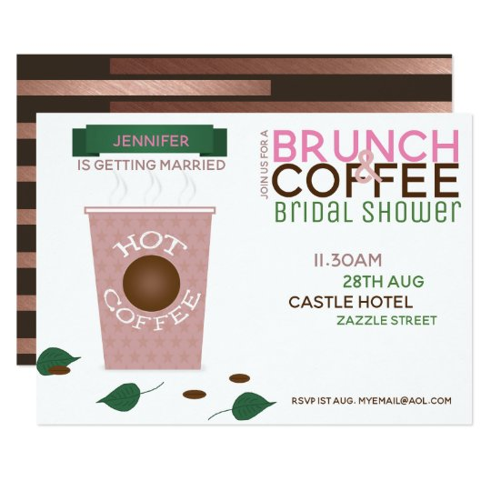 brunch coffee bridal shower invitation pink green