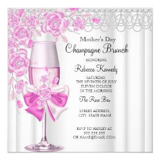 """Brunch color de rosa rosado bonito 2a de Champán Invitación 5.25"""" X 5.25"""""""