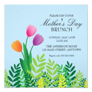"""Brunch colorido del día de madre de los tulipanes invitación 5.25"""" x 5.25"""""""