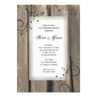 Brunch de madera del boda del poste del granero comunicado personalizado