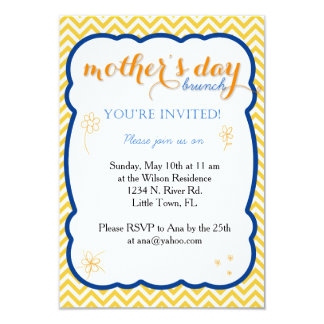 """Brunch del día de madre invitación 3.5"""" x 5"""""""