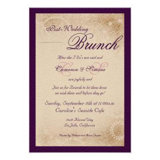 Brunch del Poste-Boda - escritura púrpura Comunicados