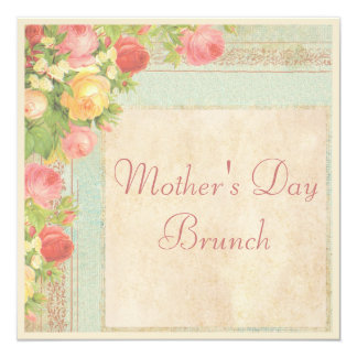 Brunch elegante del día de madre de los rosas del invitación 13,3 cm x 13,3cm