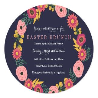 """Brunch floral de Pascua de la guirnalda Invitación 5.25"""" X 5.25"""""""