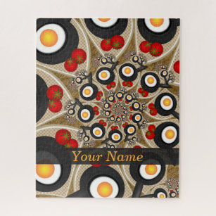 Brunch Fractal Art Funny Food, Tomatoes, Eggs Name Jigsaw Puzzle