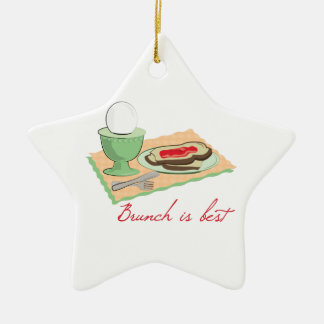 Brunch is Best Double-Sided Star Ceramic Christmas Ornament