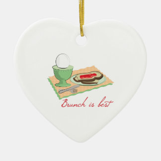 Brunch is Best Double-Sided Heart Ceramic Christmas Ornament