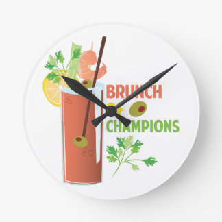 Brunch Of Champions Round Clock