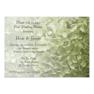 """Brunch verde del boda del poste del Hydrangea de Invitación 5"""" X 7"""""""