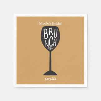 BRUNCH Wine Glass ANY COLOR & EVENT Napkins