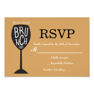 BRUNCH Wine Glass ANY COLOR & EVENT RSVP Card