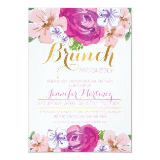 """Brunch y tarjeta nupcial floral burbujeante de la invitación 5"""" x 7"""""""