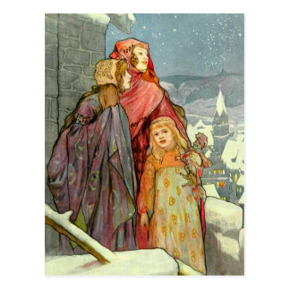 Brune Christmas Morning Girls Vintage German Postcard