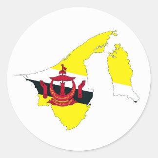 brunei country flag map shape silhouette symbol classic round sticker