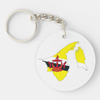 Brunei Country Flag Map Shape Silhouette Symbol Keychain