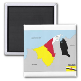 brunei country map flag 2 inch square magnet