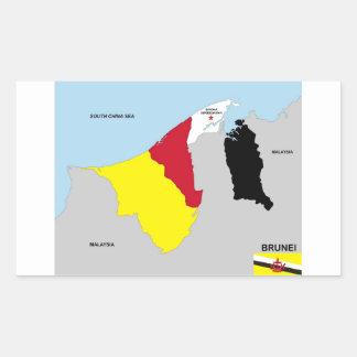 brunei country map flag rectangular sticker