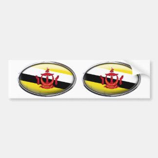 Brunei Flag Glass Oval Bumper Sticker