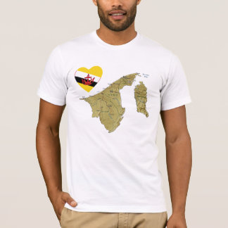 Brunei Flag Heart and Map T-Shirt