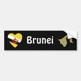 Brunei Flag Heart + Map Bumper Sticker