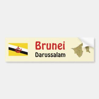 Brunei Flag + Map Bumper Sticker