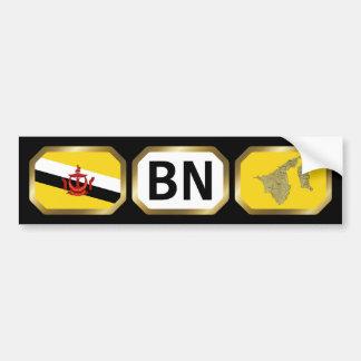 Brunei Flag Map Code Bumper Sticker