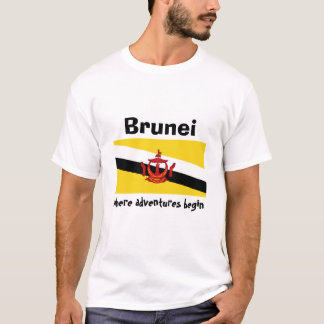 Brunei Flag + Map + Text T-Shirt