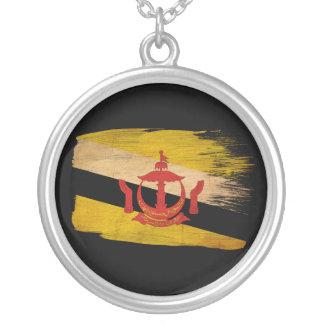 Brunei Flag Round Pendant Necklace