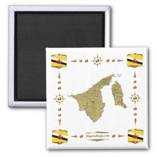Brunei Map + Flags Magnet