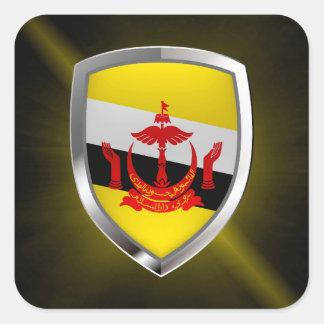 Brunei Metallic Emblem Square Sticker