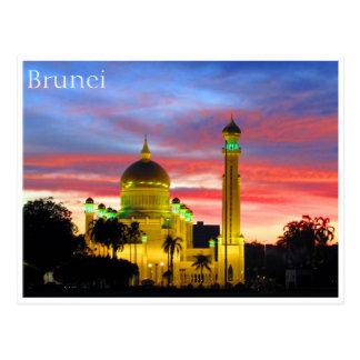 brunei mosque sunset postcard