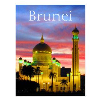 brunei sunset mosque postcard